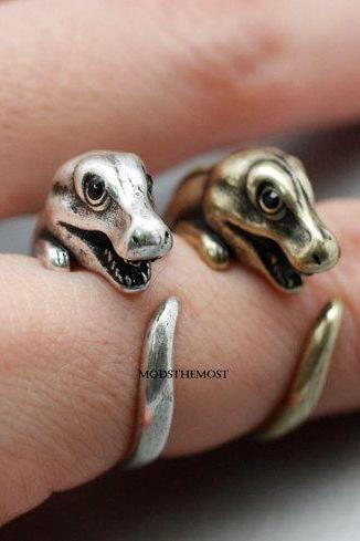 T-Rex, Trex, Jurrassic Ring, Dino ring, Dinosaur, T rex, Tyrannosaurus adjustable animal ring, retro burnished ring